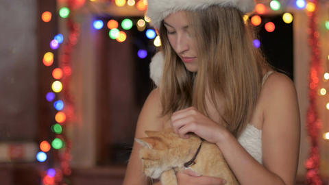 A smiling young attractive woman wearing a Santa hat petting an orange tabby cat Footage