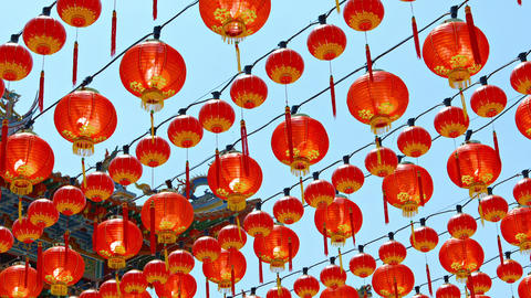 Rows of Chinese Paper Lanterns Hanging outside a Buddhist Temple Footage