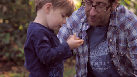 Little blond boy holding and looking at a Fall leaf with his 30 something father Footage