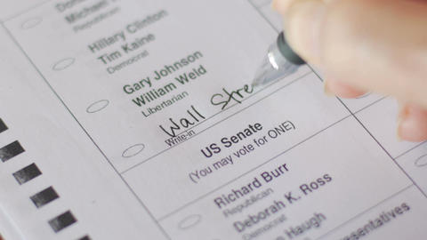 A voter fills in Wall Street in the write-in box for president on their ballot Footage