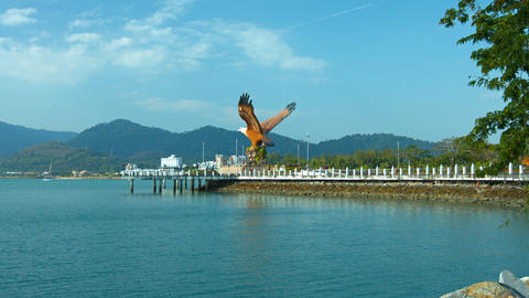 Enormous Eagle Statue at the Port of Langkawi Malaysia Live Action