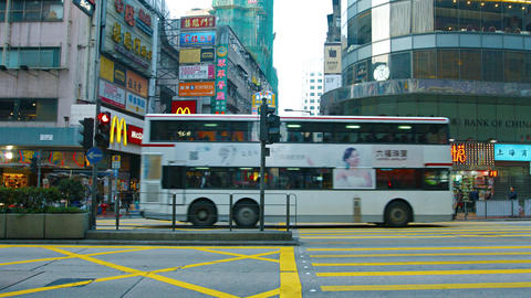 Busy intersection in a major commercial district of Hong Kong China Footage
