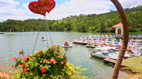 Suspended Flowerpot against Lake with Boats among Green Hills Footage
