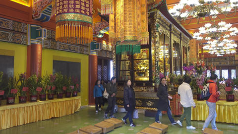 Interior of Po Lin Monastery in Hong Kong Footage