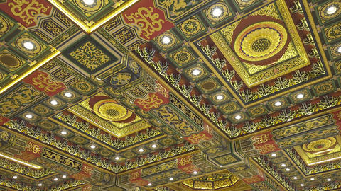 Ceiling of temple, Po Lin Monastery in Hong Kong Footage