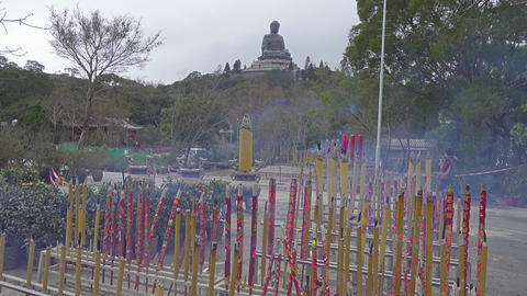 Huge Incense sticks in Po Lin Monastery and Buddha Footage
