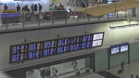 Arrival board at airport in Hong Kong Footage