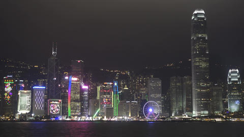 Hong Kong at night, Victoria Harbour Footage