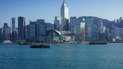 Hong Kong. Victoria Harbour and Hong Kong Central Footage