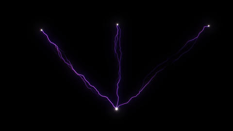3 violet electric discharges converge at one point of Tesla coil. Artificial Live Action