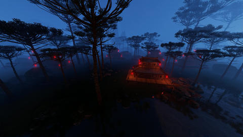 Homes And Woods In The Fog Animation
