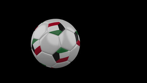 Kuwait flag on flying soccer ball on transparent background, alpha channel Animation