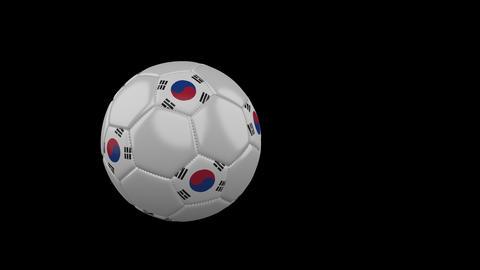 South Korea flag on flying soccer ball on transparent background, alpha channel Animation