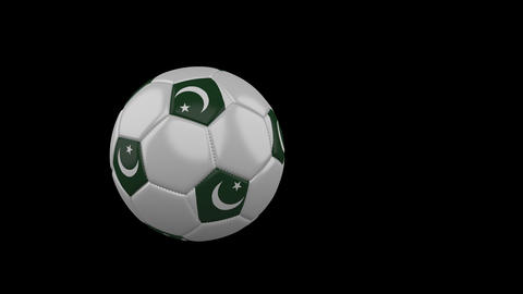 Pakistan flag on flying soccer ball on transparent background, alpha channel Animation