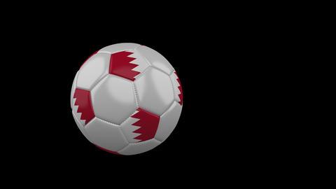 Bahrain flag on flying soccer ball on transparent background, alpha channel Animation