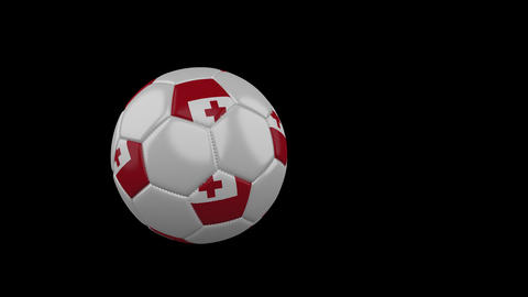 Tonga flag on flying soccer ball on transparent background, alpha channel Animation
