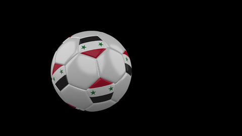 Syria flag on flying soccer ball on transparent background, alpha channel Animation