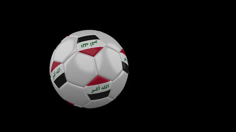 Iraq flag on flying soccer ball on transparent background, alpha channel Animation