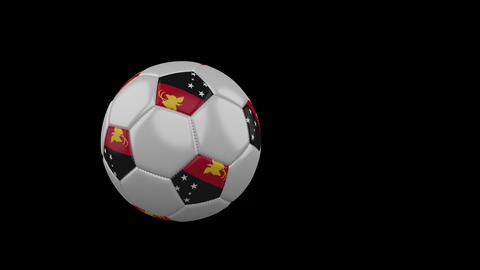 Papua New Guinea flag on flying soccer ball on transparent background, alpha Animation