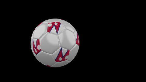 Nepal flag on flying soccer ball on transparent background, alpha channel Animation