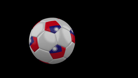 Taiwan flag on flying soccer ball on transparent background, alpha channel Animation