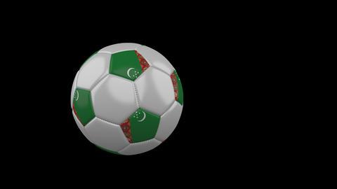 Turkmenistan flag on flying soccer ball on transparent background, alpha channel Animation