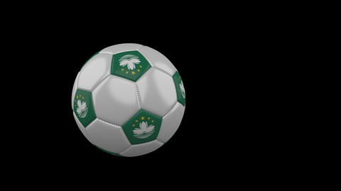 Macau flag on flying soccer ball on transparent background, alpha channel Animation