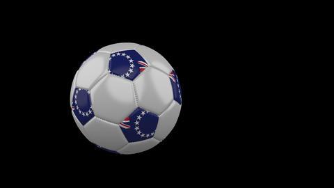 Cook Islands flag on flying soccer ball on transparent background, alpha channel Animation