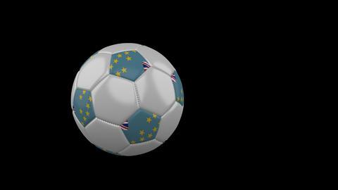 Tuvalu flag on flying soccer ball on transparent background, alpha channel Animation