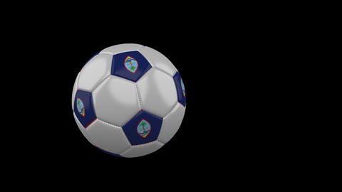 Guam flag on flying soccer ball on transparent background, alpha channel Animation