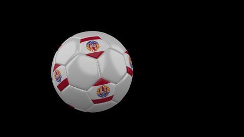 French Polynesia flag on flying soccer ball on transparent background, alpha Animation