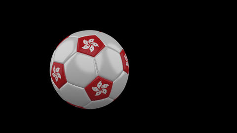 Hong Kong flag on flying soccer ball on transparent background, alpha channel Animation