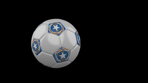 Northern Mariana Islands flag on flying soccer ball on transparent, alpha Animation