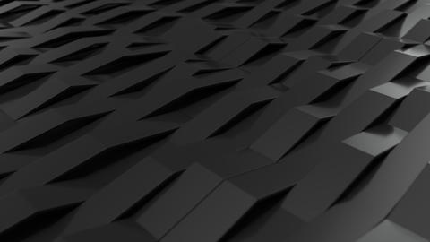 1049 3D rendering of black gloss plastic waves GIF