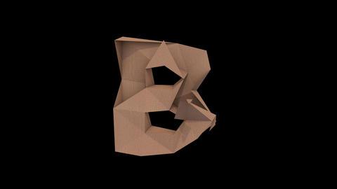 Animated low polygon cardoard typeface B cb Animation