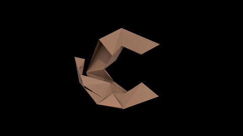 Animated low polygon cardoard typeface C cb Animation