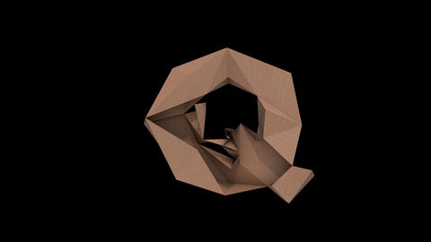 Animated low polygon cardoard typeface Q cb Animation