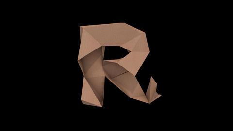 Animated low polygon cardoard typeface R cb Animation