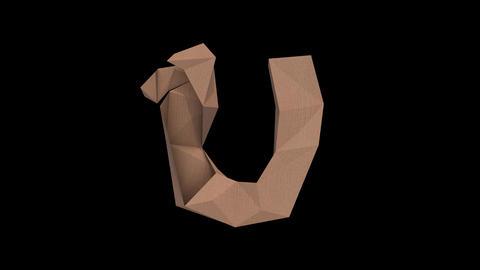 Animated low polygon cardoard typeface U cb Animation