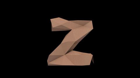 Animated low polygon cardoard typeface Z cb Animation