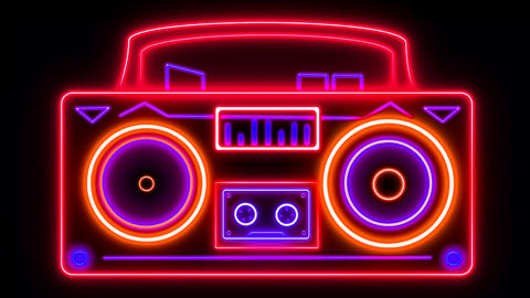 Neon Hi Fi stereo with looping cassette player, equaliser and booming speakers Animation