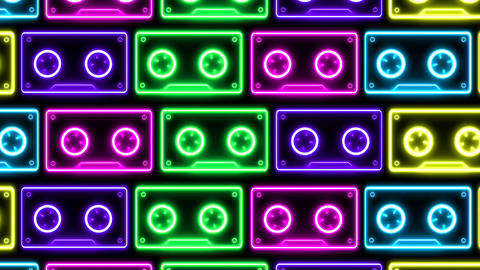 Retro neon cassette tape looping. 1980s / 1990s themed background Animation