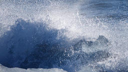 Global Warming, Ocean waves washed icebergs. Ice and Snow Winter Landscape Live Action