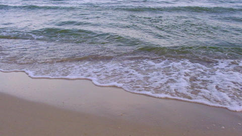 waves of the Black Sea splashing around on a sandy shore on a summer day Live Action