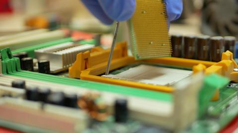 Computer Repairman Install Computer CPU Processor Live Action