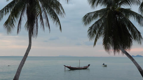 Wonderful Exotic Seascape From Shore With Two Small Wooden Fishing Boats Live Action