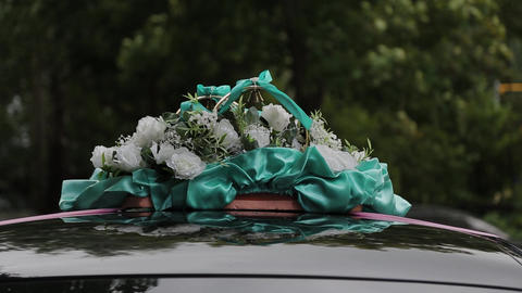 Beautiful wedding decoration by car on a wedding day Live Action
