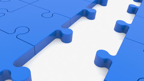 Puzzle pieces in blue color with one between red Animation