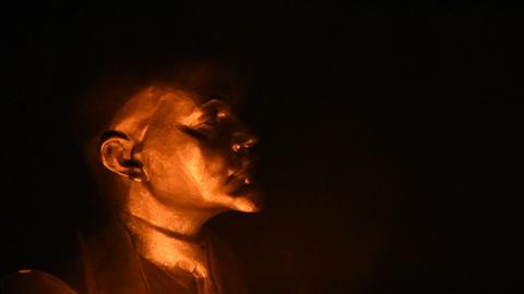 Lenin in the fire half-face Footage