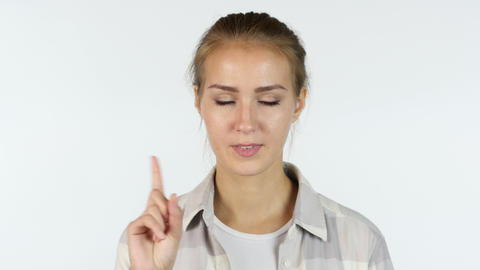 No, Rejecting Offer, Portrait of Beautiful Girl Waving Finger, White Background Footage